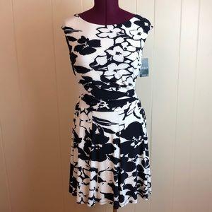 Ralph Lauren Navy White Fit & Flare Knit Dress